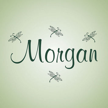 Personalized Wall Decal Name with Dragonflies Girls Room Decor