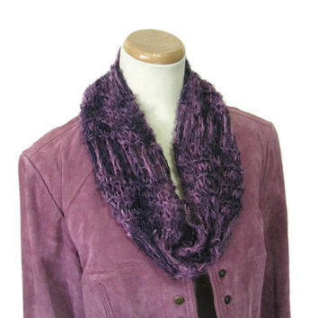 Mauve Scarf, Hand Knit Cowl, Knit Scarf, Fashion Scarf, Spring Scarf, Gift For Her, Loop Scarf, Circle Scarf, Eggplant