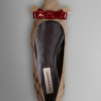 Bow Detail Point-Toe Check Jacquard Ballerinas