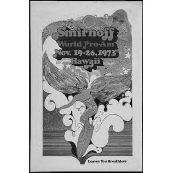 Surfing Competion Vintage Art poster Metal Sign Wall Art 8in x 12in Black and White