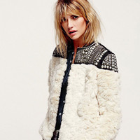 Studded Ornament Collarless Faux Fur Coat
