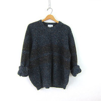 Oversized Slouchy Sweater dark Blue Speckled Boyfriend 90s Ribbed knit Preppy Basic Pullover Simple Vintage Size Large