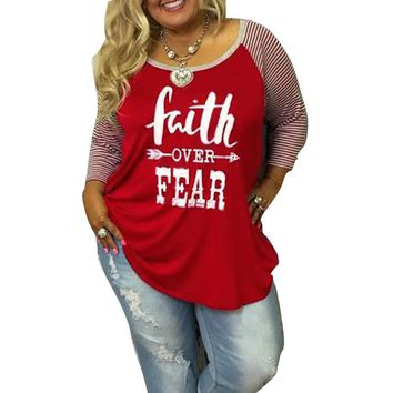 Faith Over Fear - Women's Baseball T-Shirt - O-neck, Stripes 3/4 Sleeves