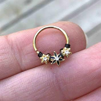Flower Daith Hoop Ring Rook Hoop Cartilage Helix Tragus Gold