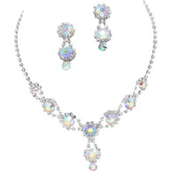 Stunning Y Drop Evening Party Iridescent AB Crystal Bridal Bridesmaid Necklace Earring B3