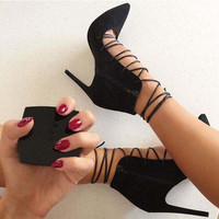 Fashion sexy black hollow bandage high-heels sandals shoes