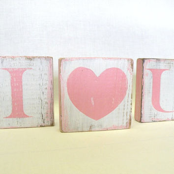 Pink Valentine Decor, I  Heart You, I Love You, Wooden Sign in Pink and White Shabby Chic, Farmhouse Chic