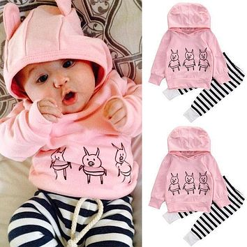Pink Baby Girls Kids Clothes Set Sweatshirt Tops Cute Long Sleeve Striped Pants 2pcs Cotton Clothing Outfits Baby Girl