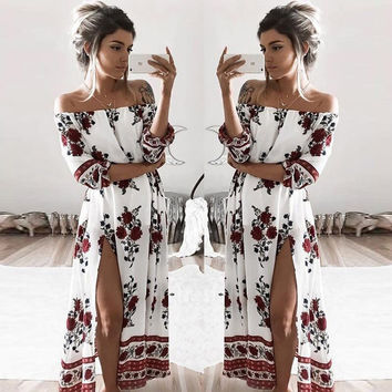 2016 new women dress New Beach Loose Pretty Printing Three Quarter Sleeve Sexy Slash neck Off the Shoulder Women's Dress