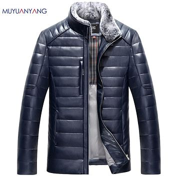 Men's Leather Down Jacket Fur Collar Detachable Leather Jackets For Men Warm Overcoat Casual Coats Leather Jackets