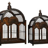 One Kings Lane - Evergreen - S/2 Rectangular Bird Cages