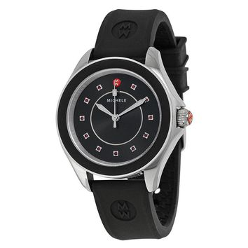 Michele Cape Black Dial Black Silicone Ladies Watch MWW27A000006