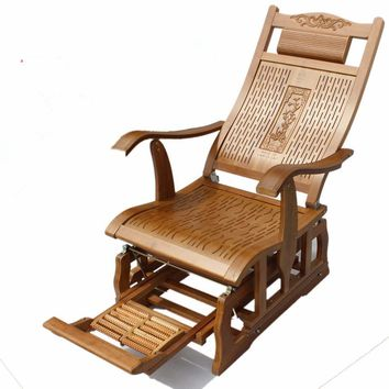 Free Shipping - Modern Healthy Bamboo Rocking Chair With Foot Support Made OfNatural Bamboo Indoor Living Room Chairs