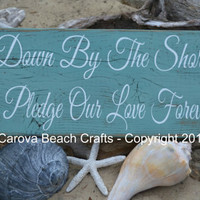 Coastal Wedding, Beach Wedding, Ocean Wedding, Hand Painted, Wood Sign, Rustic, Distressed, Love Sign