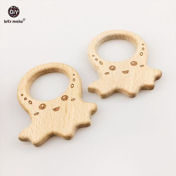 Let's make Unfinished Beechwood Pendants 5pcs Wooden octopus DIY Accessories for Teething Original Wood Teether Toys Gym Charms