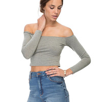 Off Shoulder Long Sleeve Tight Cropped Top