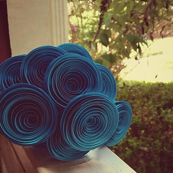 Paper Flower Bouquet - 10 Teal (Blue/Green) Paper Flowers - Handmade Rolled Paper Flower Bouquet for Brides, Weddings, Anniversaries