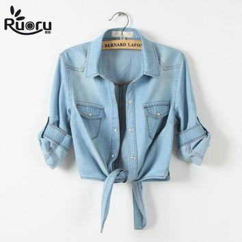 kimono Denim Shirt Short Sleeve Womens Tops Chemise Femme Crop Top Sexy Short Jeans Shirt Blouse Summer Cool Feminine Shirts