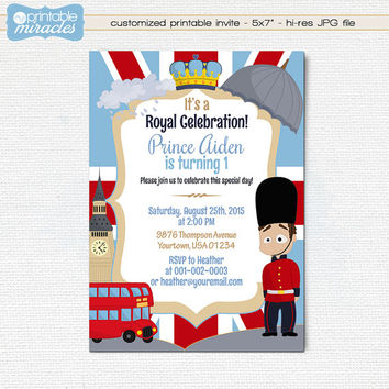 London birthday invitation, Printable British party invite card, Kids Royal celebration theme, Boy birthday ideas - custom, digital