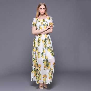 ead20674f5e38 2018 Summer Women Runway Lemon Printed Off the Shoulder Maxi Dre. Gender Women  Dresses ...