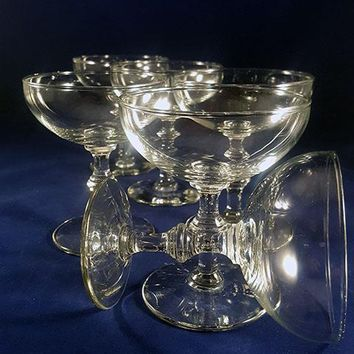 Spindle Stemmed Champagne Coupes  S/6