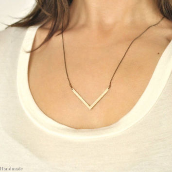 Skinny Chevron Necklace, brass chevron necklace,delicate bohemian necklace, arrow necklace, trendy necklace, long boho necklace, boho//N-126