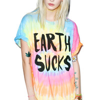 Burger And Friends Earth Sucks Tee Tie Dye