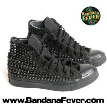 Bandana Fever Custom Studded Black Mono Converse All-Star Chuck Taylor Hi Black Pyrami