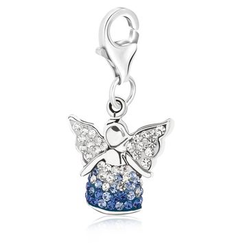Sterling Silver Multi Color Crystal Accented Angel Charm