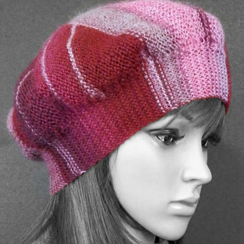 Hand knitted patchwork tam Berry whirlwind