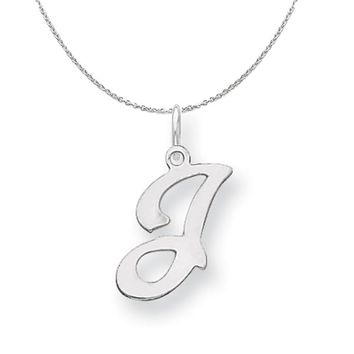 Sterling Silver, Sophia Collection, Small Script Initial J Necklace