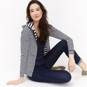 Beachside French Navy Stripe Hooded Sweatshirt | Joules US
