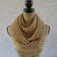 Ready To Ship Toasted Almond Brown Cowl Scarf Fall Winter Women's Accessory Infinity