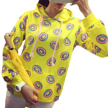 Cute Donuts Printed Hooded Pullover Autumn Women Casual Pocket Patch Hoodies Sweatshirts Yellow Tracksuit Sudaderas Mujer 2016