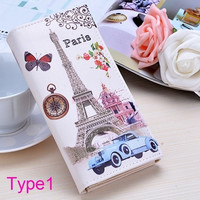 New Women Ladies Day Clutch Purse Long Leather bags Wallet Paris Flags Eiffel Tower Style  SV011627|26601 = 1745575876