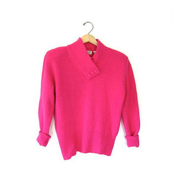 20% Off Sale Vintage ANGORA wool sweater. Pink soft 80s sweater. Mock neck preppy sweater.