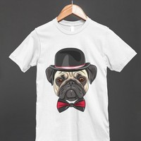 Pug Dog Wearing Bowler Hat and Bow Tie - Shirt - Clothes, fashion for women, men and kids