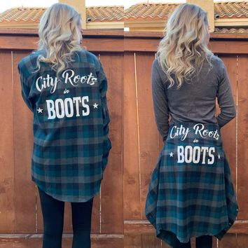 """City Roots in Boots"" Teal Unisex Flannel"