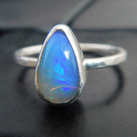 Pear Shaped Australian Opal and Sterling Silver Ring, Opal Engagement Ring, Minimalist Ring, Australian Opal Ring, Natural Opal Ring