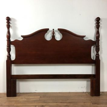 Georgian Style Carved Mahogany Full Size Headboard, bearing a centered finial, maker is American Drew
