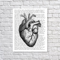 Edgar Allan Poe 'The Tell-Tale Heart' Poetry Poem 5x7, 8x10, 11x14 Typography Black & White Art Print Wall Decor Home Decor Horror Print