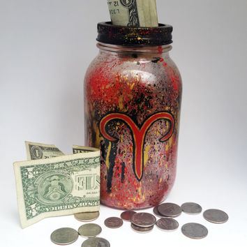 Aries Mason Jar Bank- Aries Zodiac Sign- Zodiac Sign- Painted Mason Jar- Piggy Bank- Change Jar