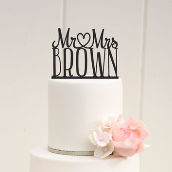 Mr. + Mrs. Custom Wedding Cake Topper w/ Heart