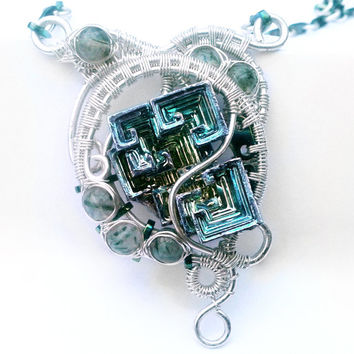 Gimli Elf Friend Necklace - OOAK Lord of the Rings gigolas inspired Sterling Silver Bismuth Pendant