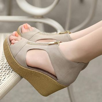 Women Wedge Sandals Summer Slippers Women Shoes Slides Platform Wedges Vintage High Heel Sandals Zippers Sandalias Mujer