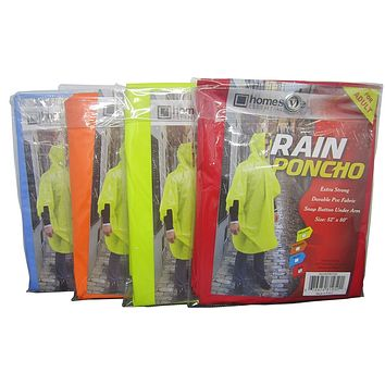 Rain Poncho - Assorted Colors - CASE OF 24