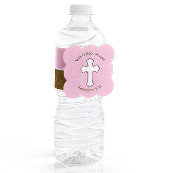 Little Miracle Girl Pink & Gray Cross - Personalized Baby Shower Water Bottle Label Favors