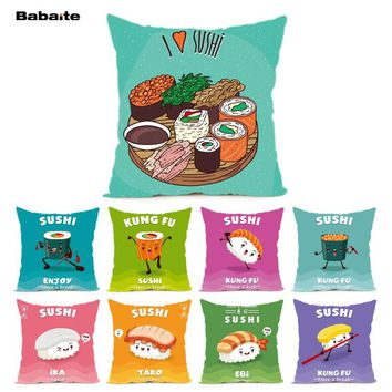 Babaite I Love Sushi Different Tastes Flavours Japan Food Cushion Cover Home Decoration Throw Pillow Cover with Nice Zipper