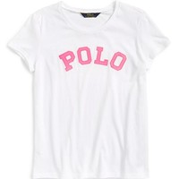 Girl's Ralph Lauren Logo Applique Tee,