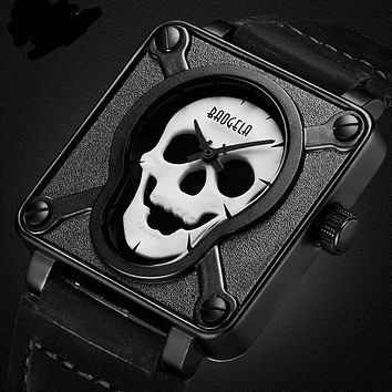 Waterproof Leather Strap Square Quartz Watch 💀 ⌚️